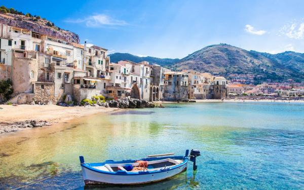a view of the sea town of cefalù, Sicily